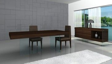 High Class Wooden And Clear Glass Top Fabric Seats Modern Dining