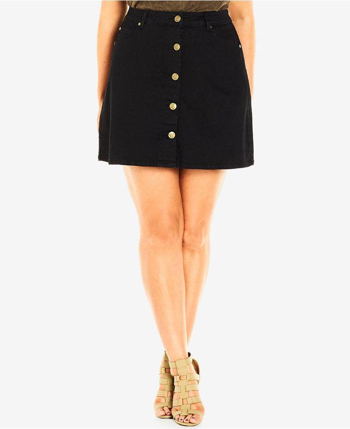 548deeda53 City Chic Plus Size Black Wash Button-Front Denim Skirt | Curvy ...