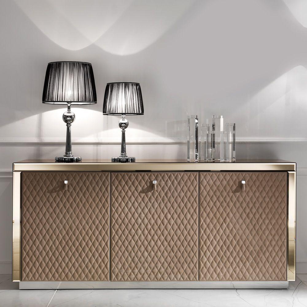 Designer Bronze Mirrored Glass Sideboard Luxury