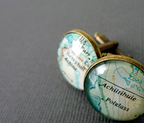 Brass Gifts For Wedding Anniversary: Personalised Map Cufflinks, For Him, Bronze, Copper