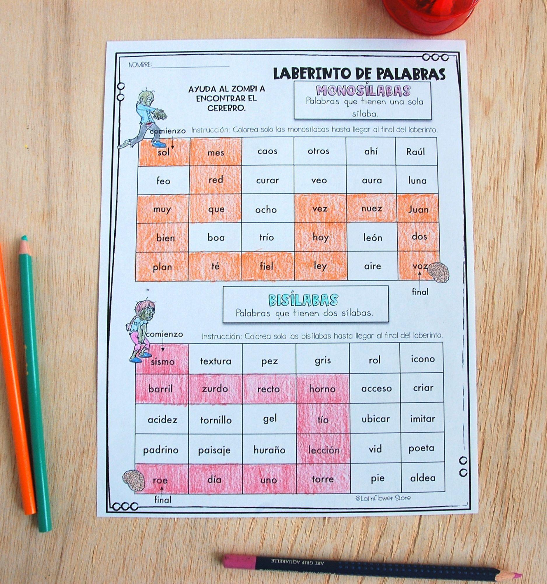 Ejercicio De Práctica División Silábica Laberintodepalabras Monosílabas Divertido Práctica Sílabas Divisiónsilábica Learning Spanish Learning Writing