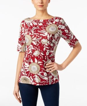 5a6fbac7eb714b Karen Scott Elbow-Sleeve Printed Boatneck Top, Created for Macy's - Red L