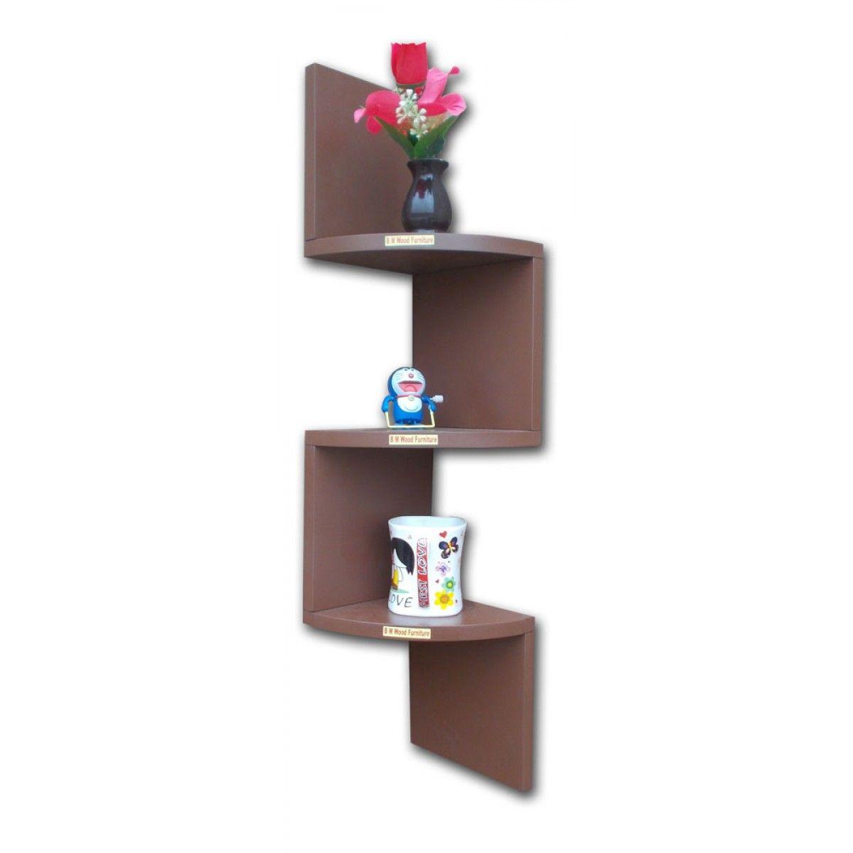 BM WOOD Furniture Zigzag Shaped 3 Curved Wall Corner Shelf
