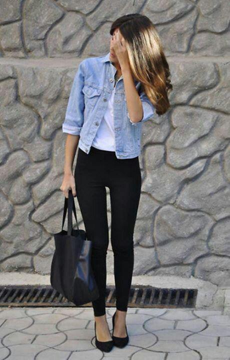 jaqueta jeans + legging