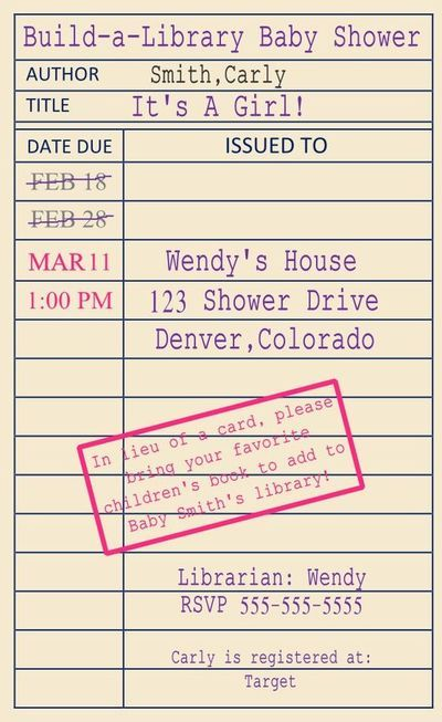 Library Card Invitation Template