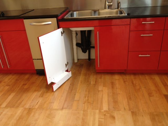 Clearer View Of Toe Kick Attached To Cabinet Door To Allow
