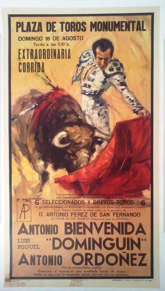 Original Spanish Bullfight Poster 1968 Plaza De Toros Madrid Linen Backed Classicspanishartwork Art Deco Paintings Matador Graphic Art