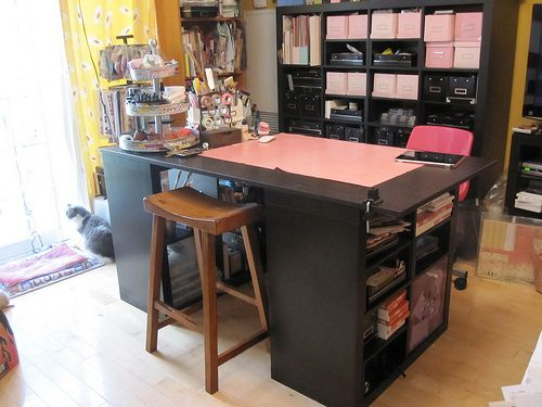 2 Small Expedit Bookcase And A Table Top. It Looks Close To The Pottery Barn