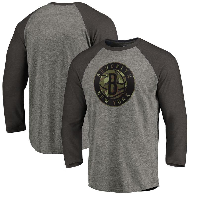 c2264b22 Brooklyn Nets Fanatics Branded Camo Collection Prestige 3/4-Sleeve Raglan T- Shirt – Heathered Gray