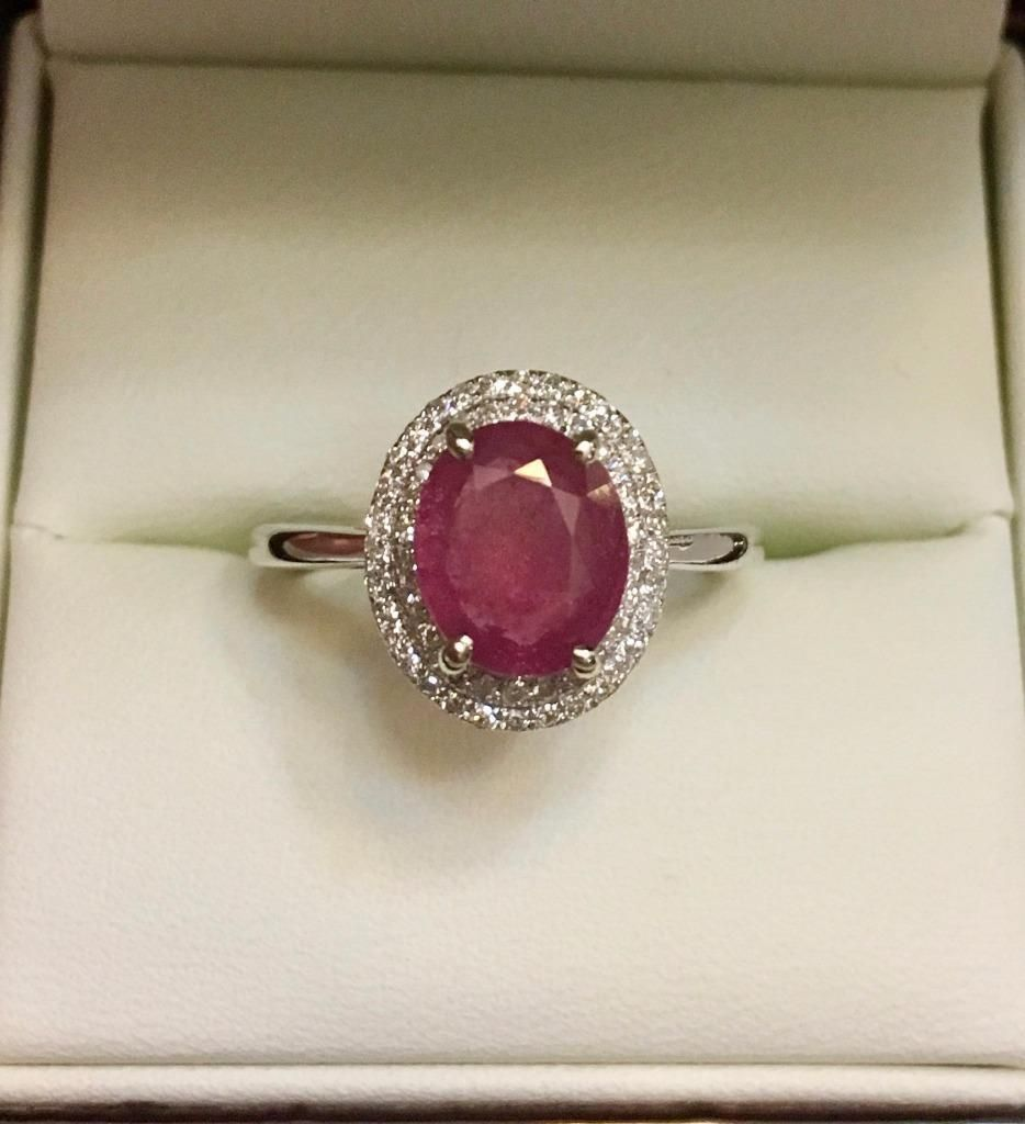 Cool great certified ctw natural ruby diamond oval halo k