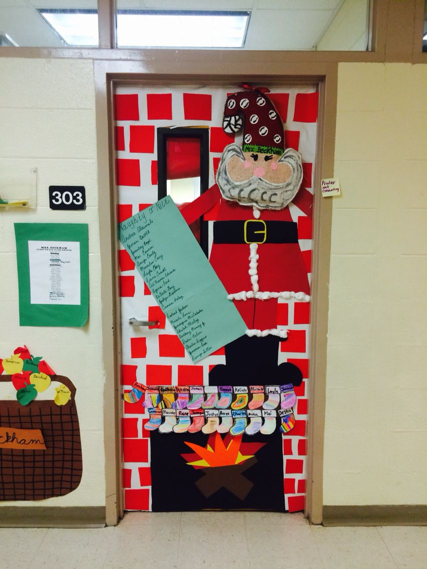 Santa and naughty or nice list door decor classroom for Nice office decor