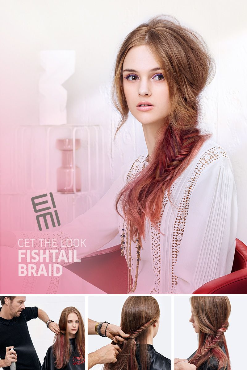 Fishtail Braid with a Hidden Twist of Pink For a versatile day-to-night look, watch our fishtail braid video with a pink twist using Wella hair color and EIMI Ocean Spritz Salt Spray for beachy texture and EIMI Stay Firm Workable Finishing Spray!