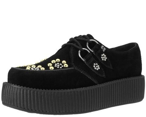 T.U.K. Low Sole Round Creeper, Damen Sneaker Schwarz Schwarz 46