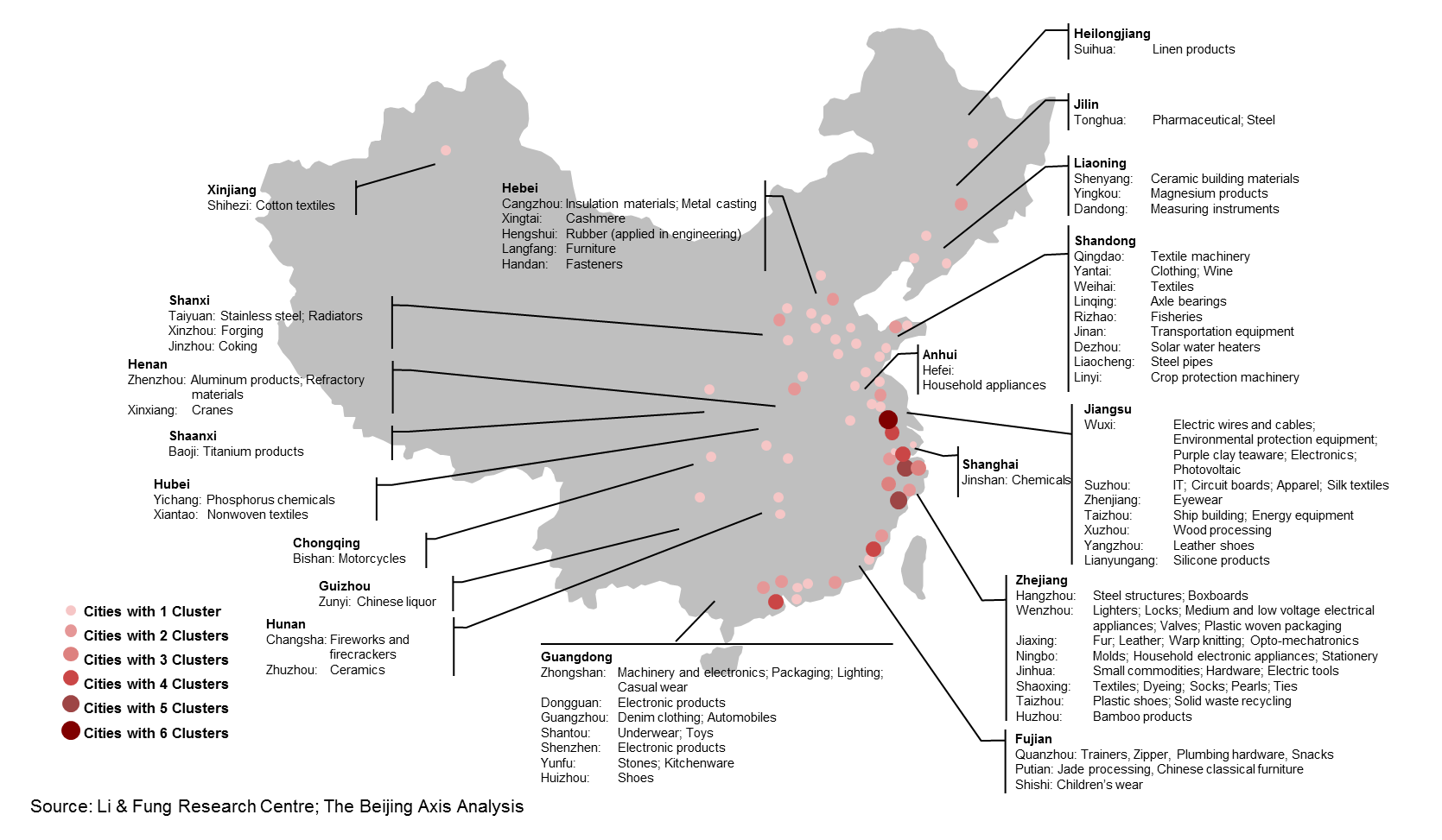 China Sourcing Map Main Industrial Areas In China With