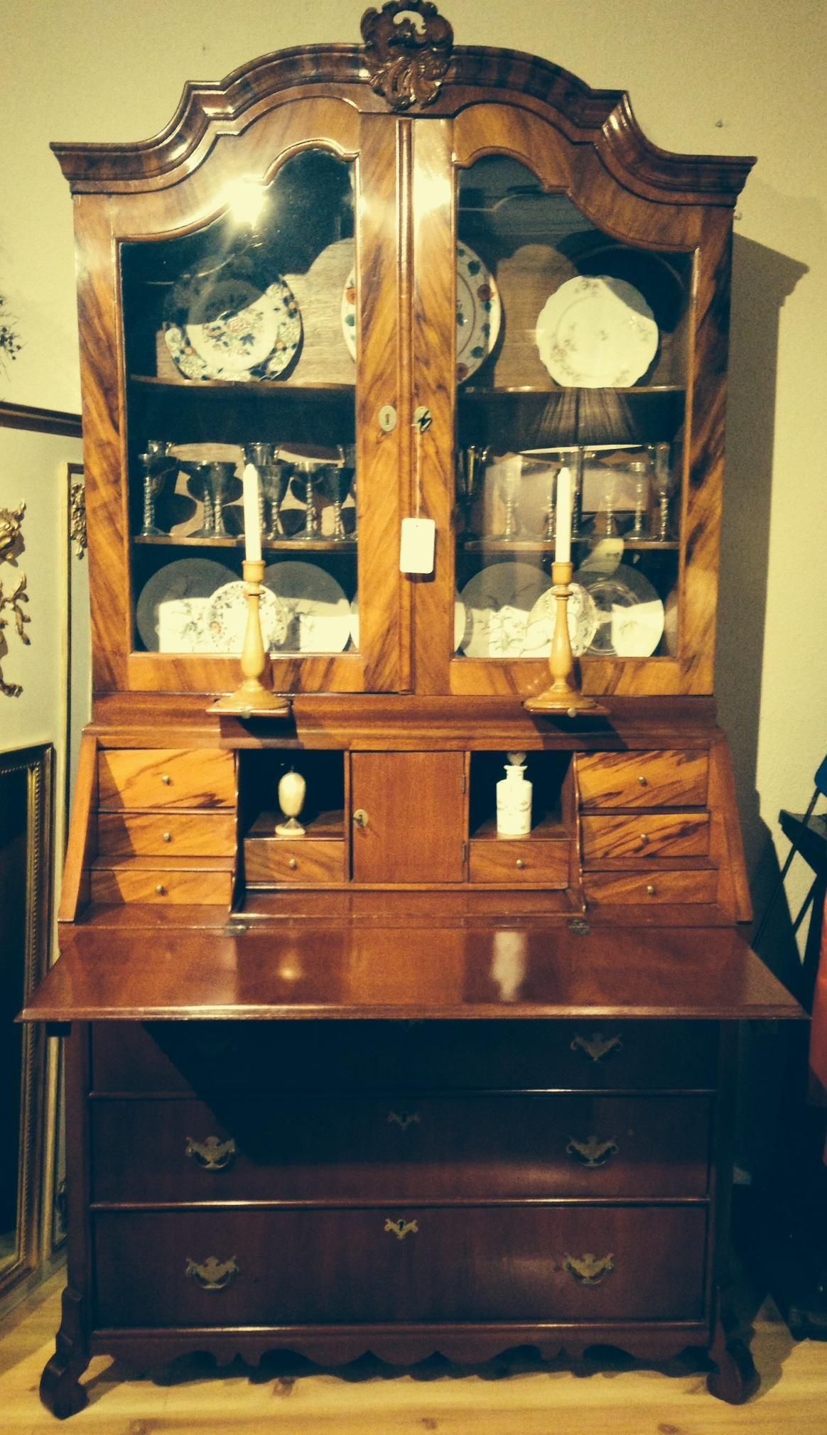 Secretero inglés de caoba con interior en roble | Muebles antiguos ...