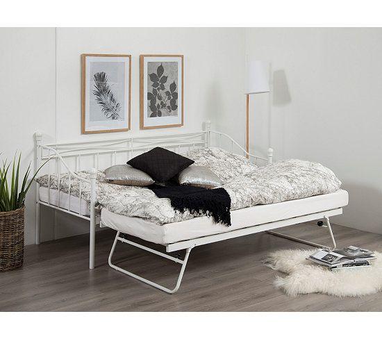 lit banquette gigogne olivia 2x90x190 cm blanc lit. Black Bedroom Furniture Sets. Home Design Ideas