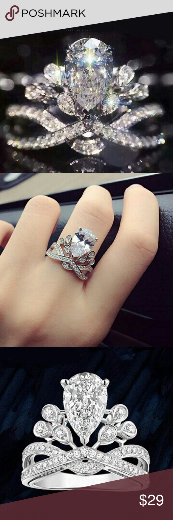 princess🌸crown ring nwt White topaz rings, Silver topaz