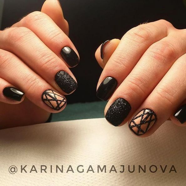 Black graphic gel nails art design made by @karinagamajunova using ...