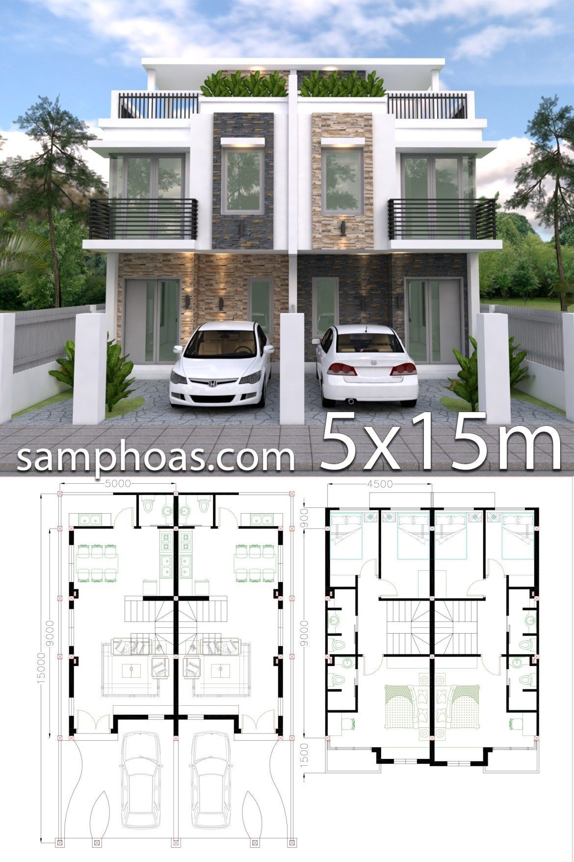 Home Design Plan 5x15m Duplex House with 3 Bedrooms front - SamPhoas  Plansearch in 2020 | House layout plans, Narrow house plans, Duplex house  design