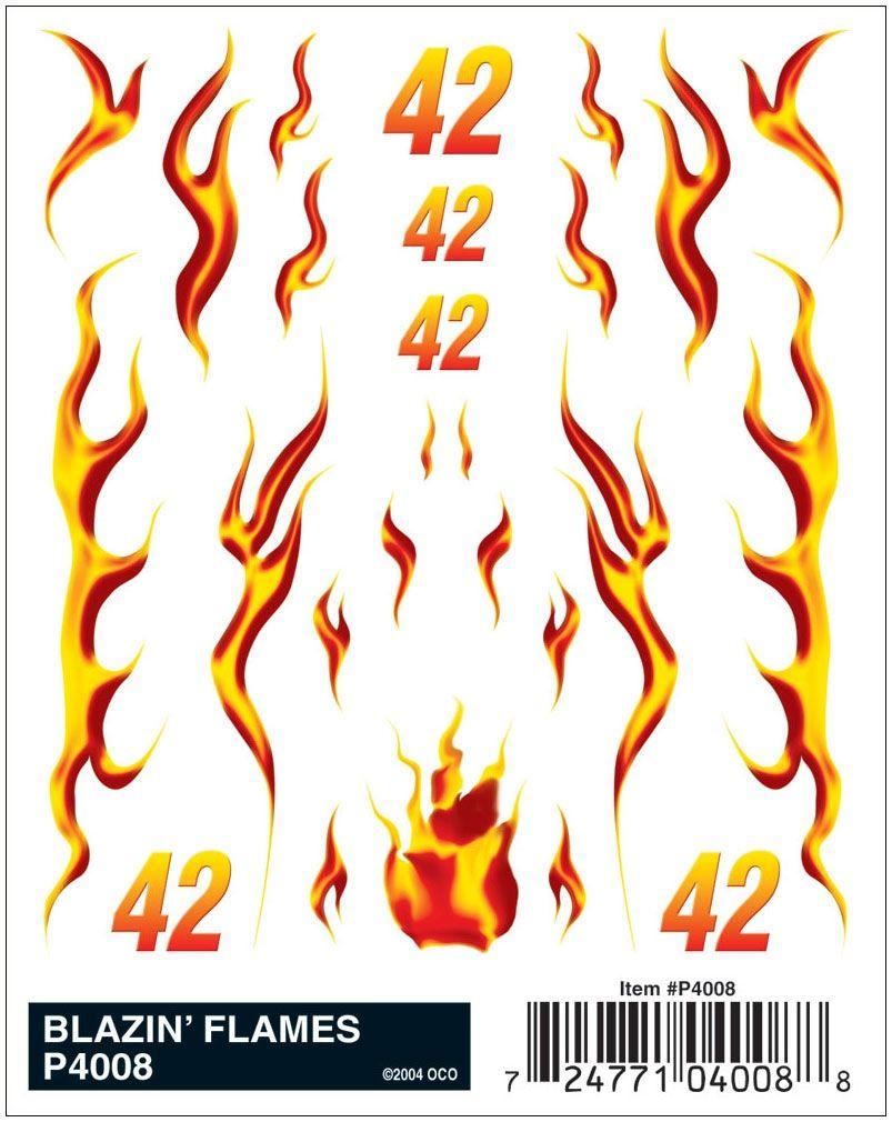 blazin flames pinewood derby decals