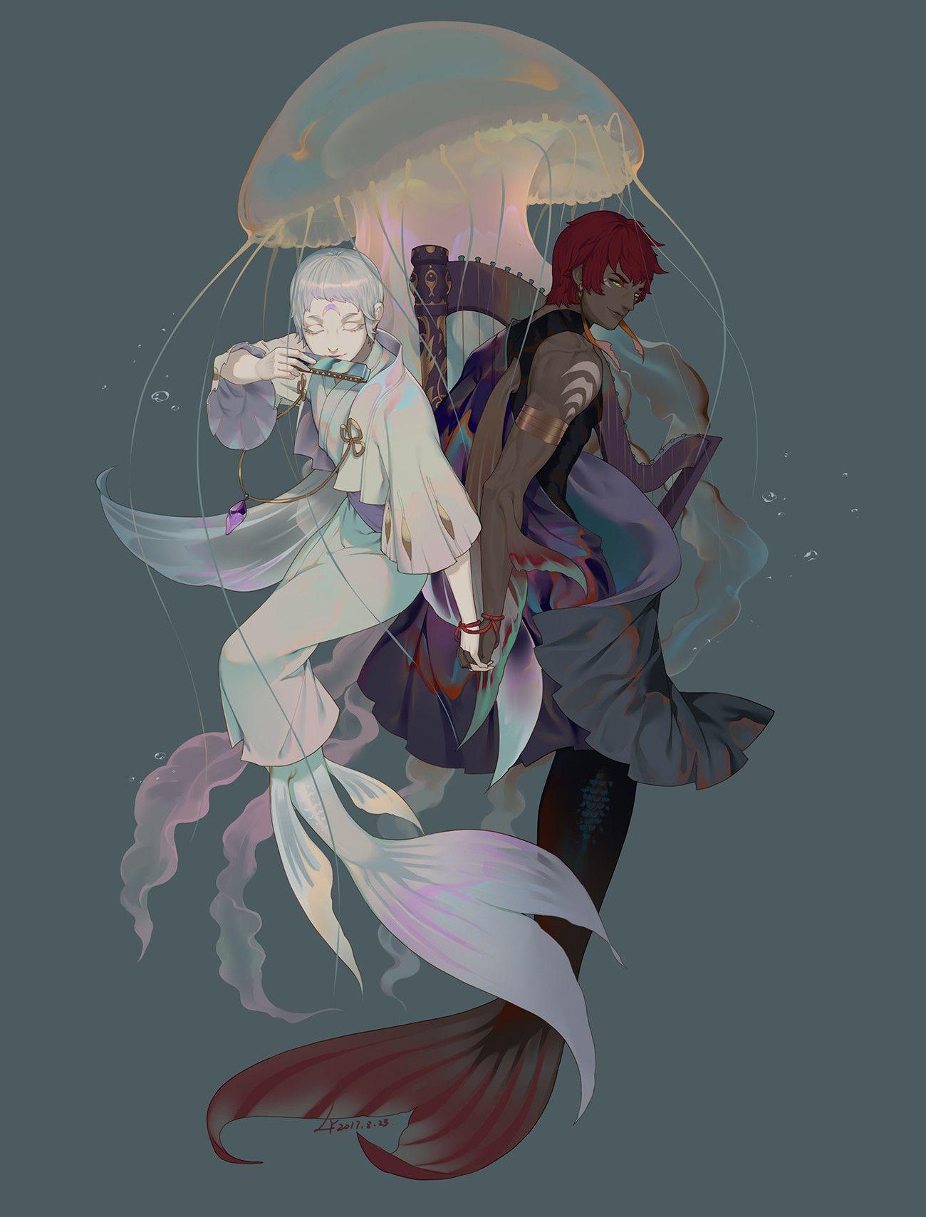 ArtStation 和服双鱼座, LY 炼妖 キャラクターデザイン, 插画, 画