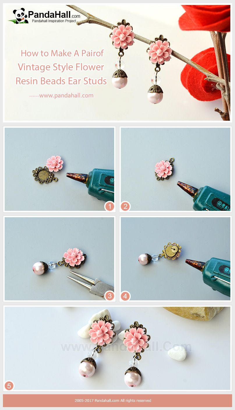 How to Make Vintage Style Flower Resin Beads Ear Studs