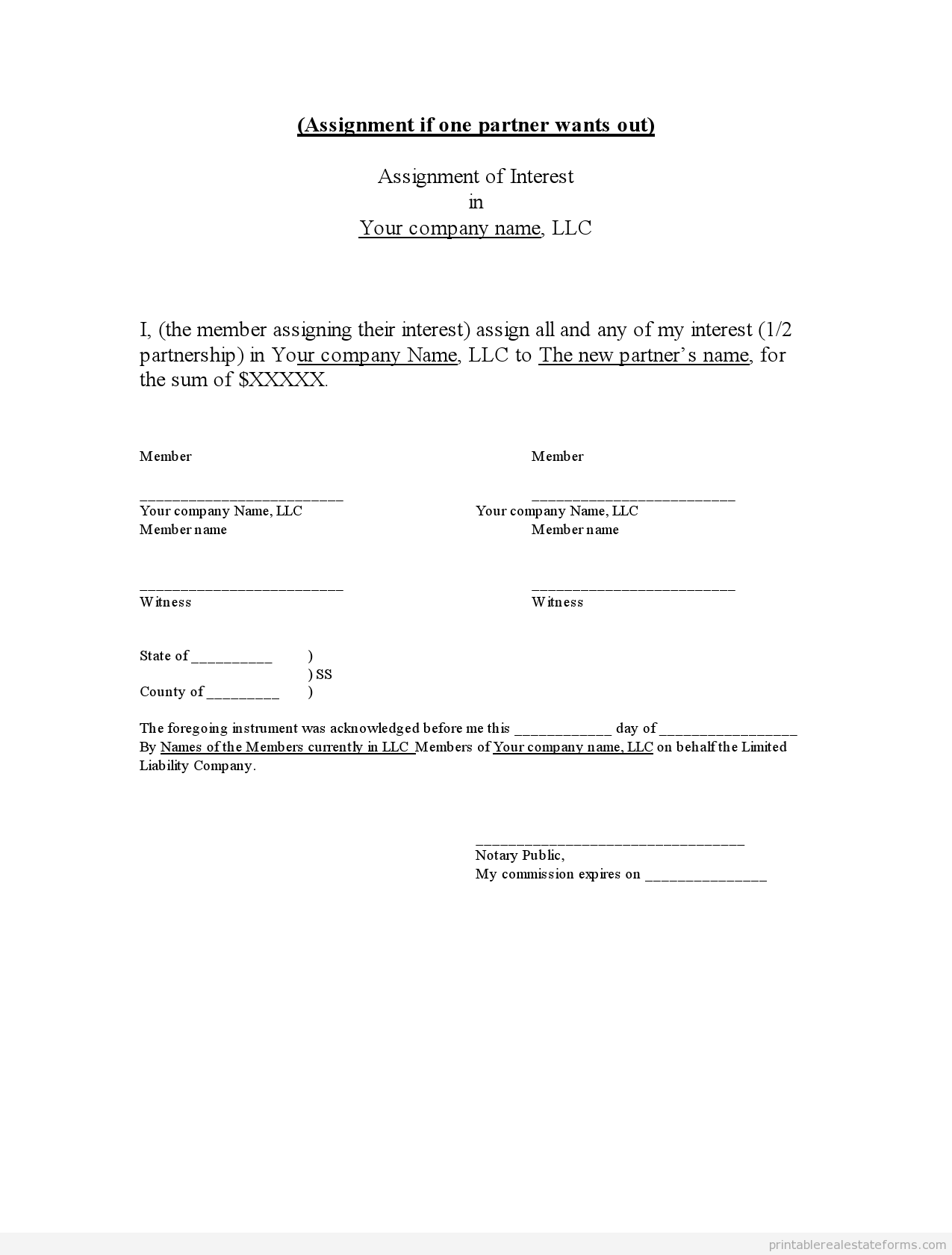 Sample Printable Assignment Of Llc Interest Form  Printable Real
