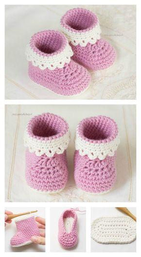 Instructions au crochet pour chaussures bébé et 23 jolis motifs au crochet – DIY – ZENIDEN   – Häkelanleitungen