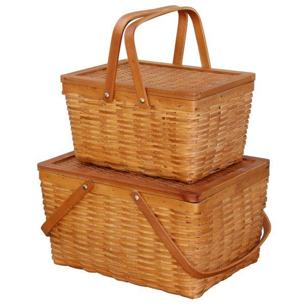 Rectangle Handwoven Chipwood Baskets (Set of 2)