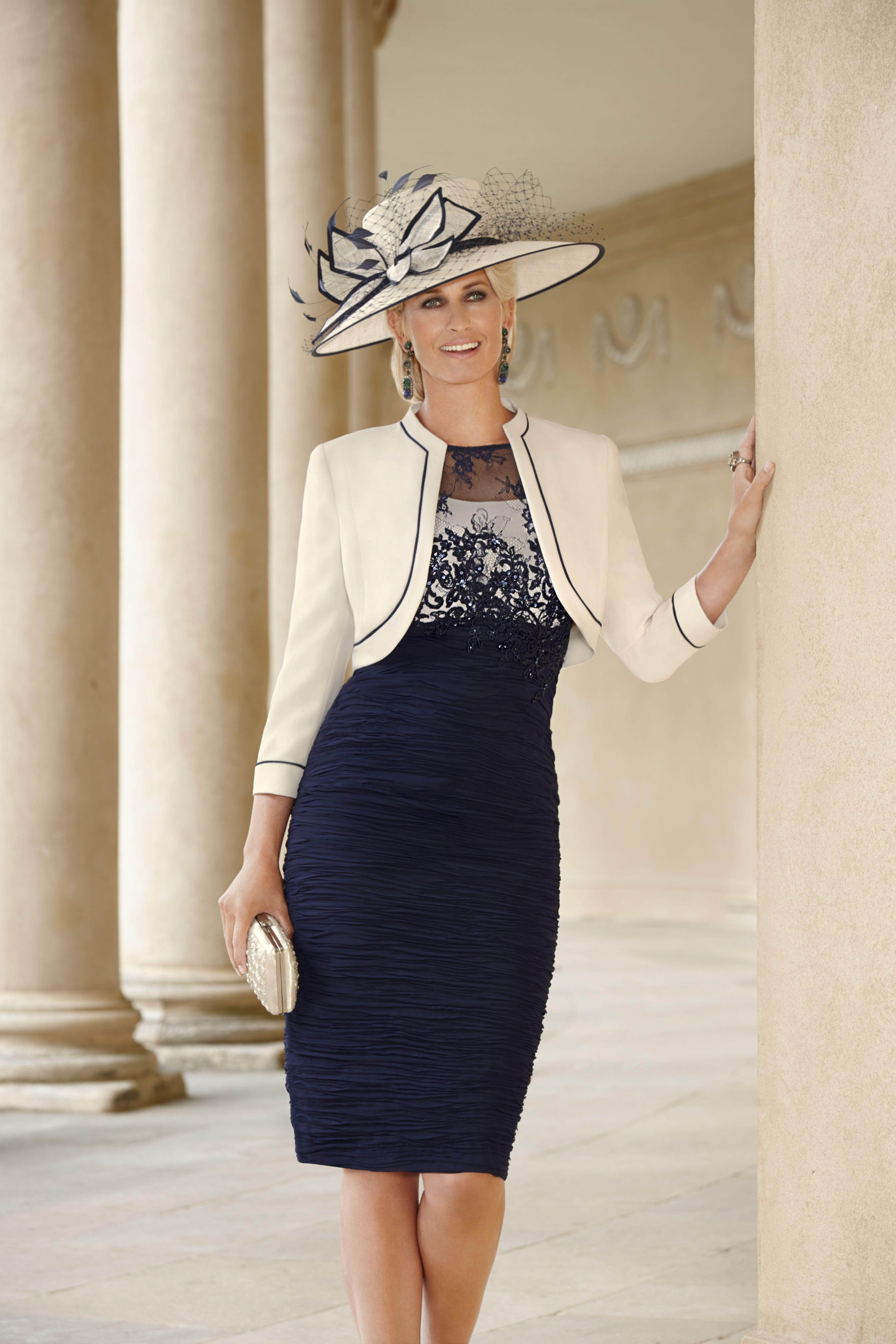 Cream & Navy Dress and Bolero Jacket Selma Pinterest