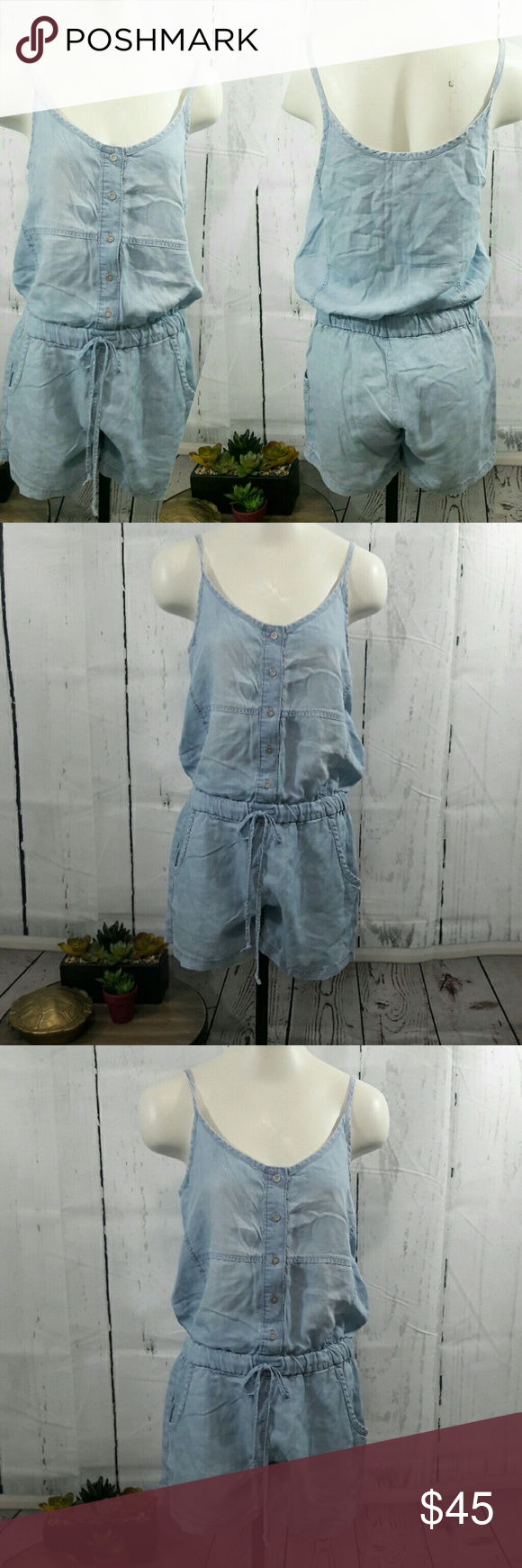01602cf403fc Anthropologie Cloth and Stone Chambray romper Size small EUC Anthropologie  Pants Jumpsuits   Rompers
