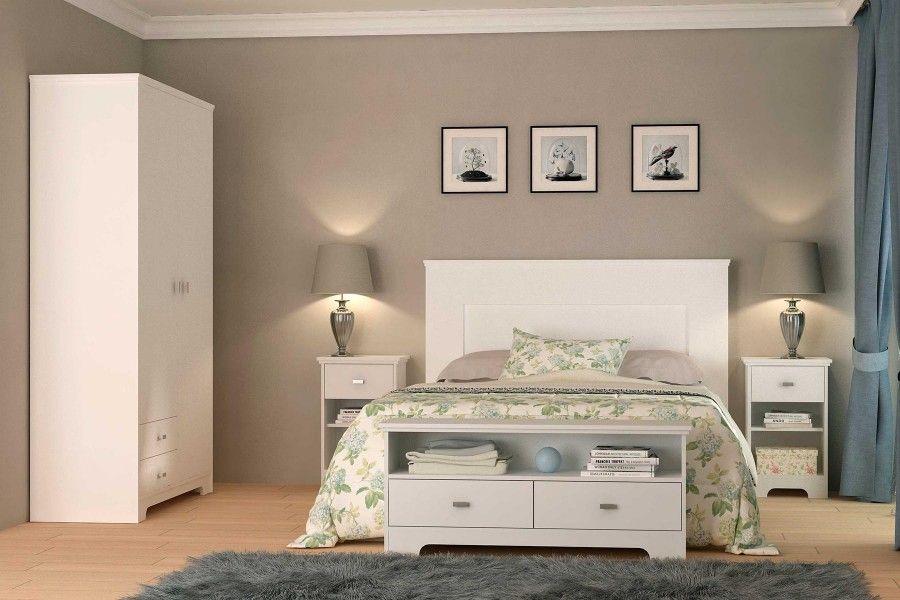 Dormitorio Romantic 2 blanco cabezal, mesitas, descalzadora