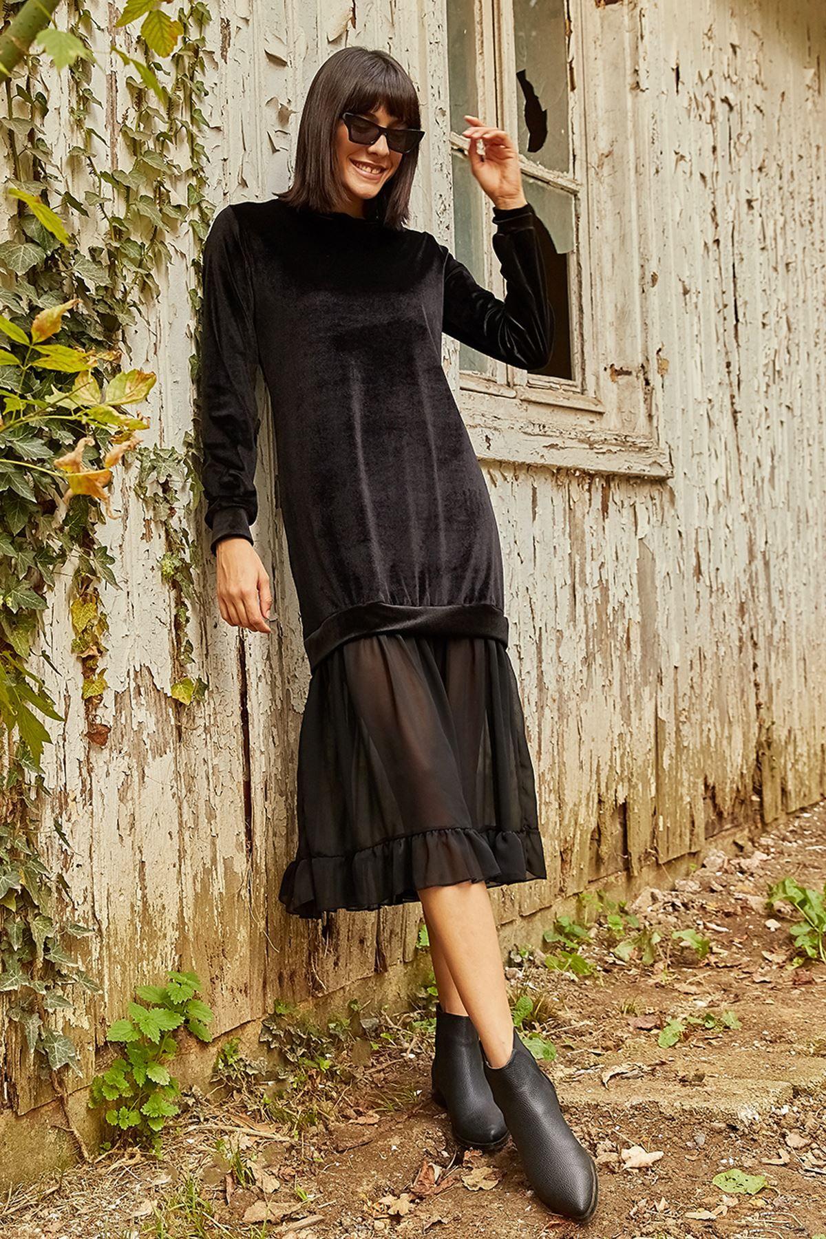 فستان مخمل طويل لون أسود