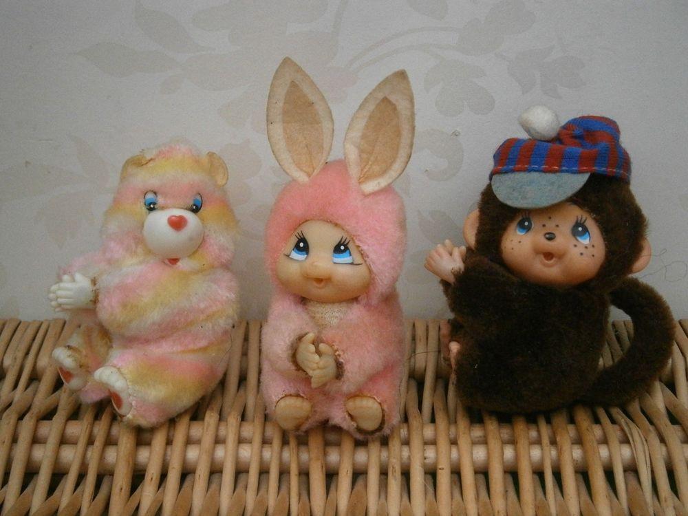 Vintage 1980s Retro Hugger Gripper Clip Monchichi Chicaboo Bear & Rabbit lot