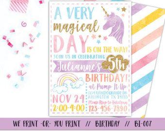 Printable Unicorn Birthday Invitation By Frelladesigns On Etsy