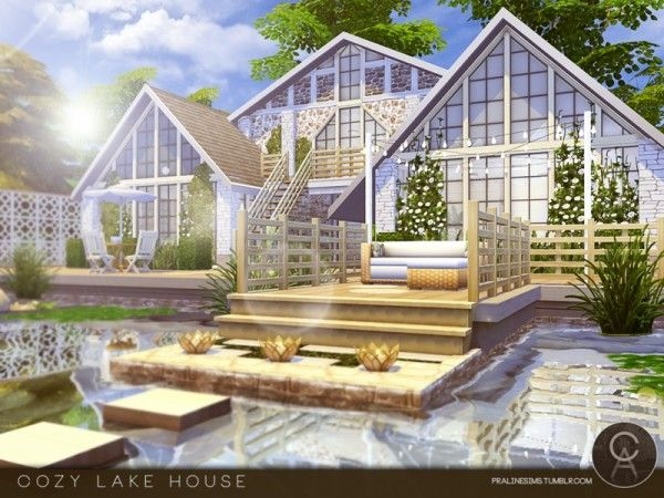 The Sims Resource: Cozy Lake House by Pralinesims • Sims 4 Downloads
