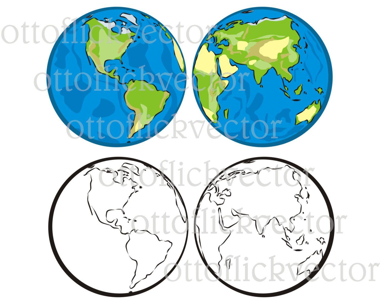VECTOR hemisphere of the EARTH western / eastern, CLIPART eps, ai ...