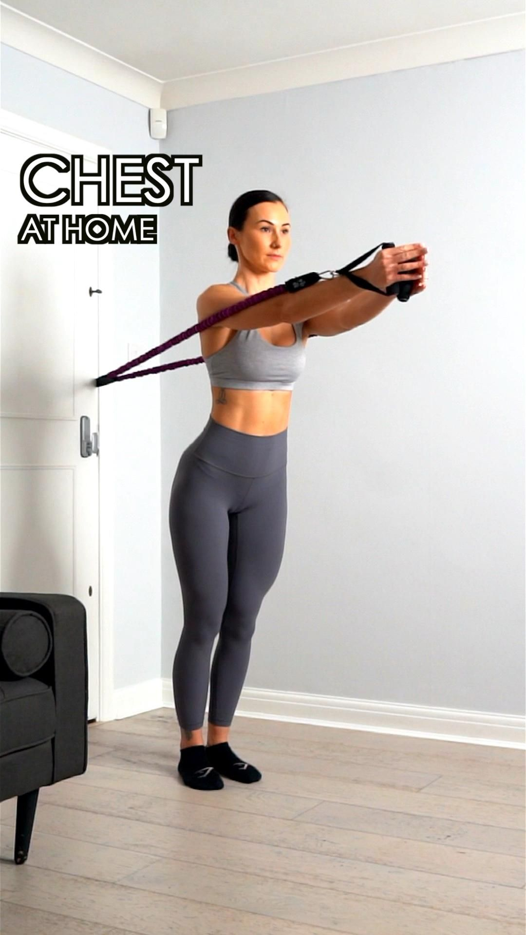 Chest workout at home with resistance bands