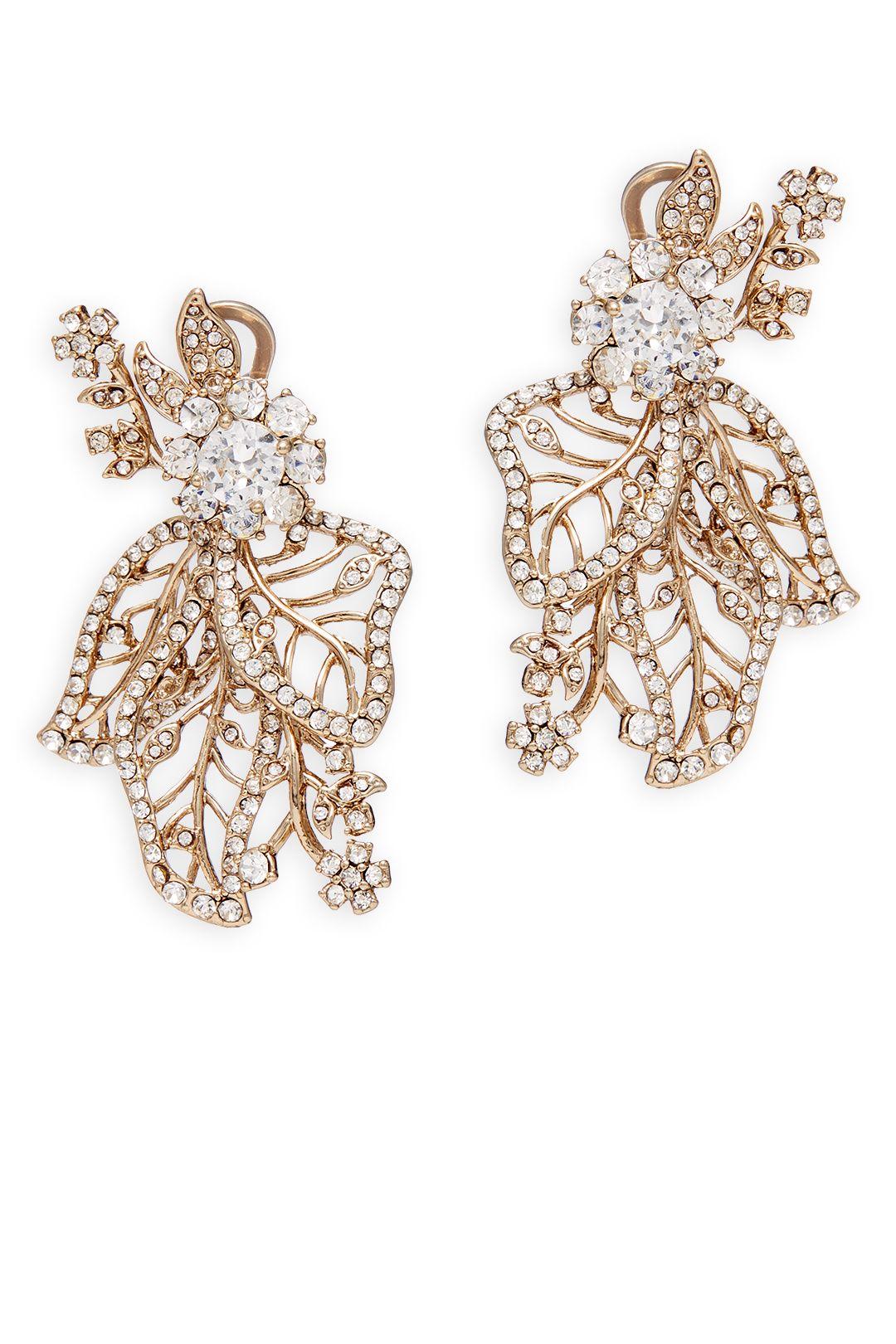 Gold Crystal Leaf Earrings