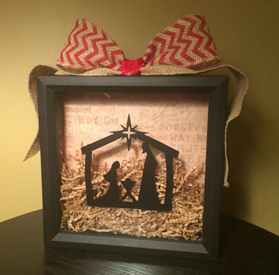 Christmas nativity scene in an 8x8 shadow box. Ribbon can be ...