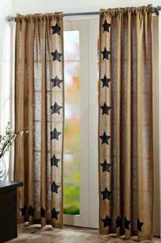 Burlap Natural Pair Window Panels With Stenciled Black Stars Ea Panel