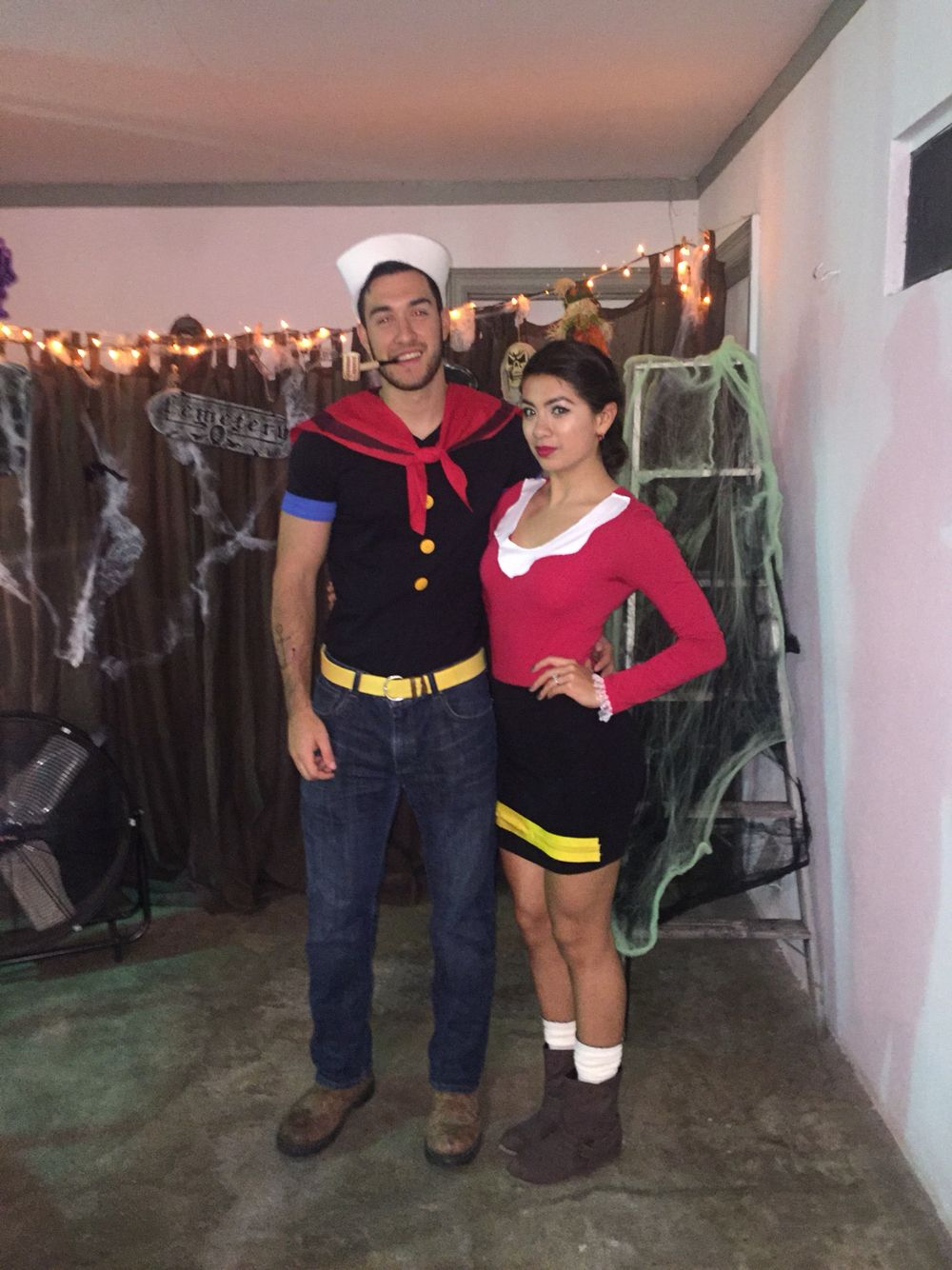 Diy Olive Oyl And Popeye Costume In 2019 Popeye Halloween