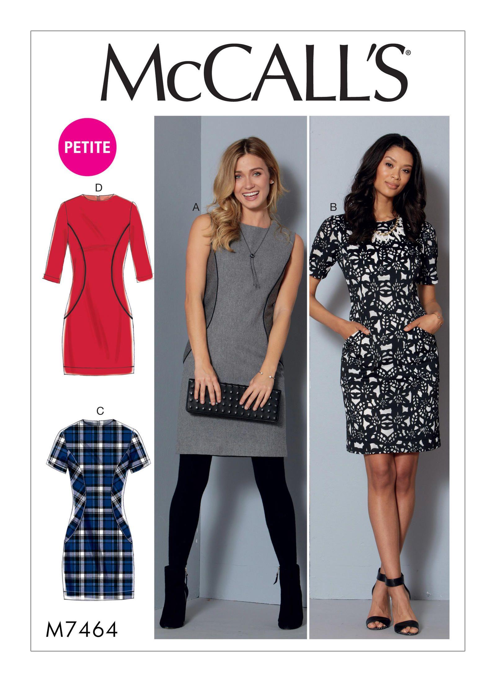 McCall\'s 7464 Misses\'/Miss Petite Paneled Dresses