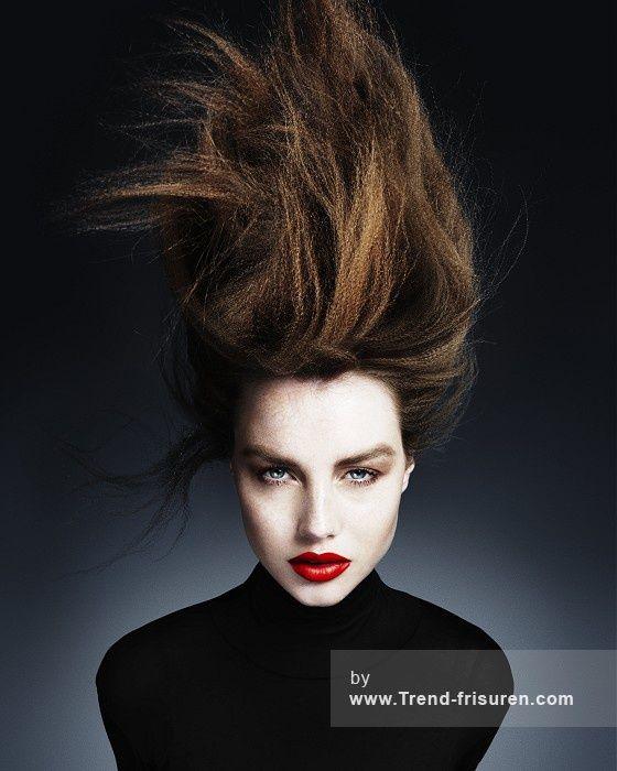 KEN PICTON Lange Braun weiblich Gerade Spikey Crimped Multi-tonalen Frauen Frisuren hairstyles