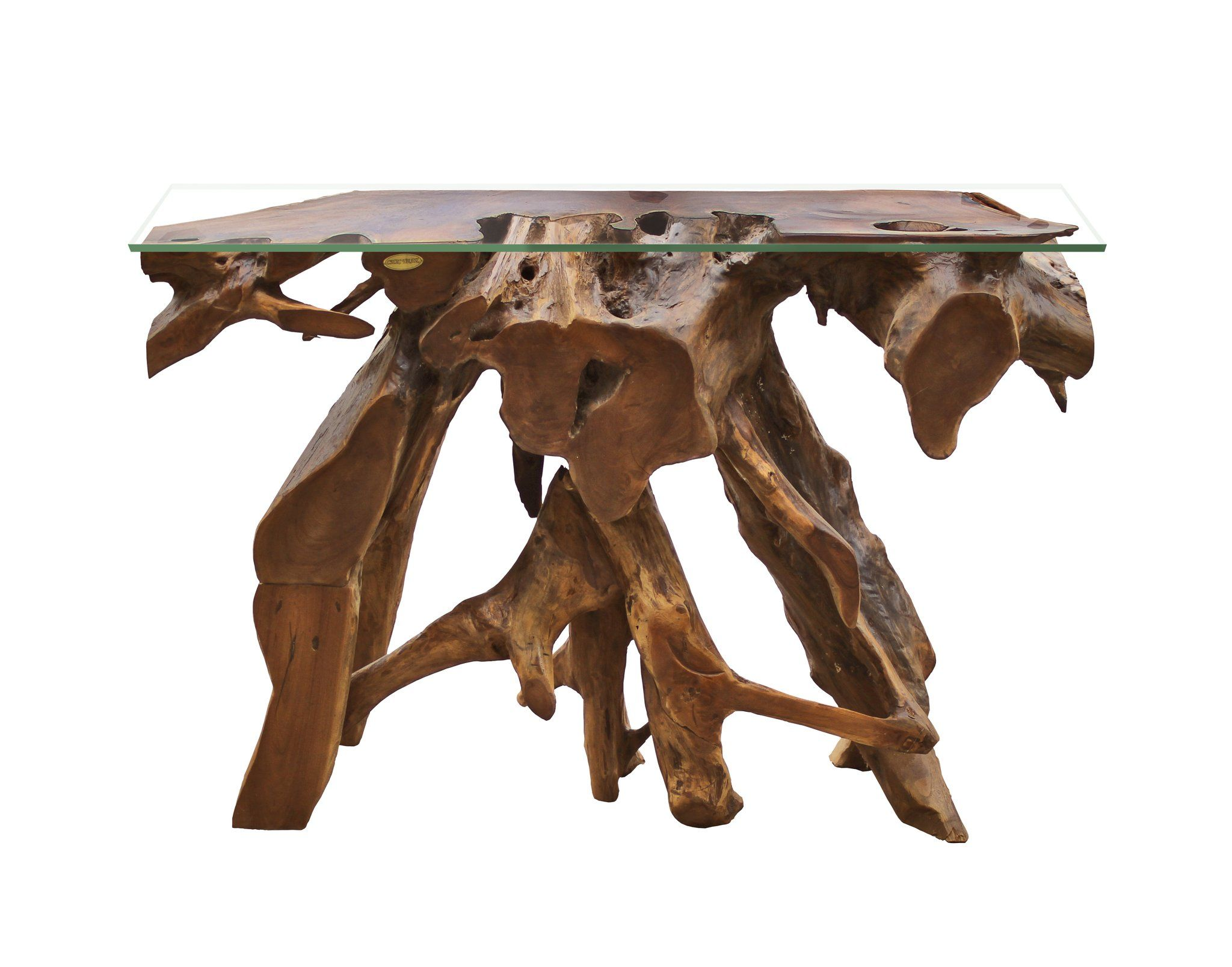 Teak Wood Root Console Table with Glass Top, 48 inches ...