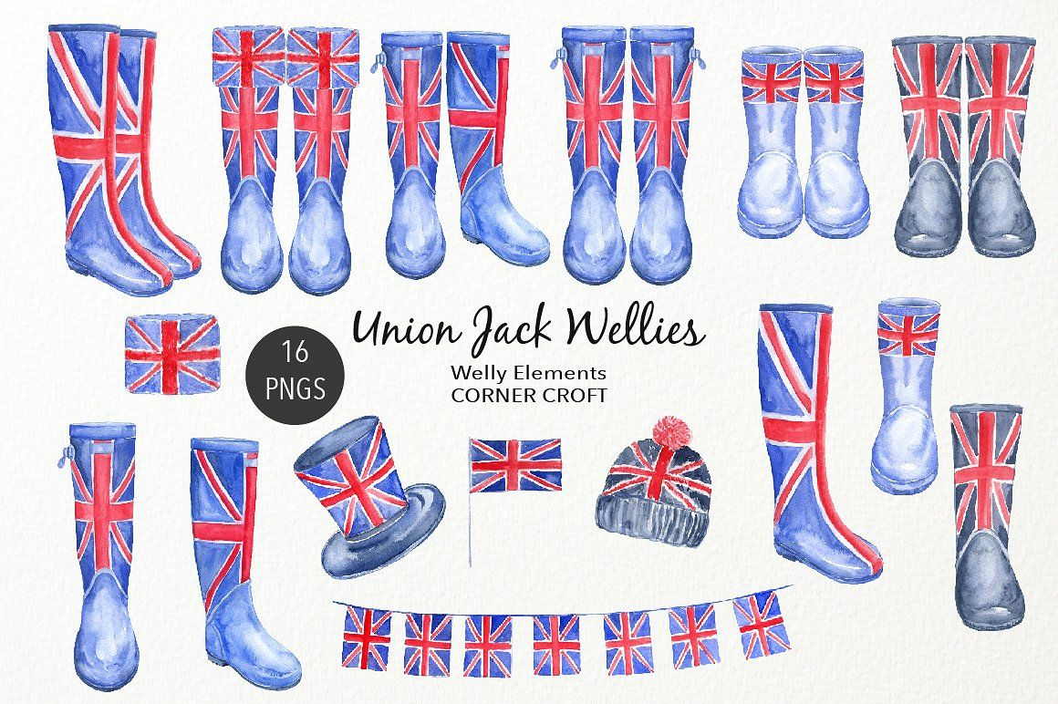 Watercolour Union Jack Wellies Flag Kids Top Bunting Flyer