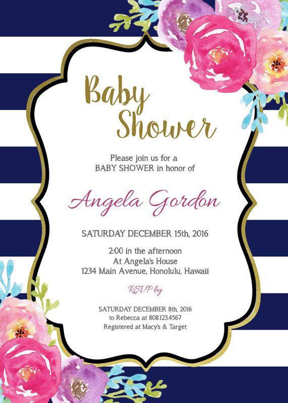 Bebé Azul Bebé Ducha Invitación Flores Por
