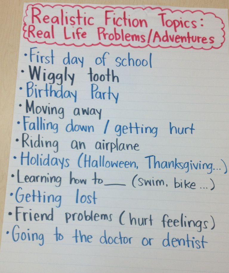 Realistic Fiction Topics K-2 Writing Workshop Realistic fiction