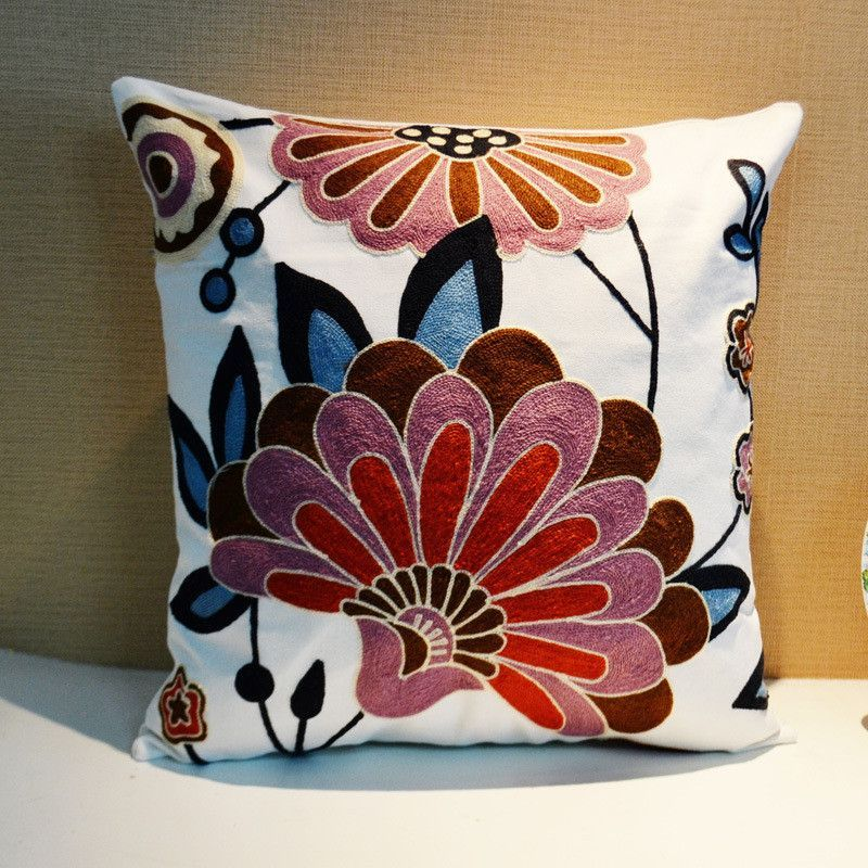 Summer Style Cotton Car Covers Embroidery Pillow Cover
