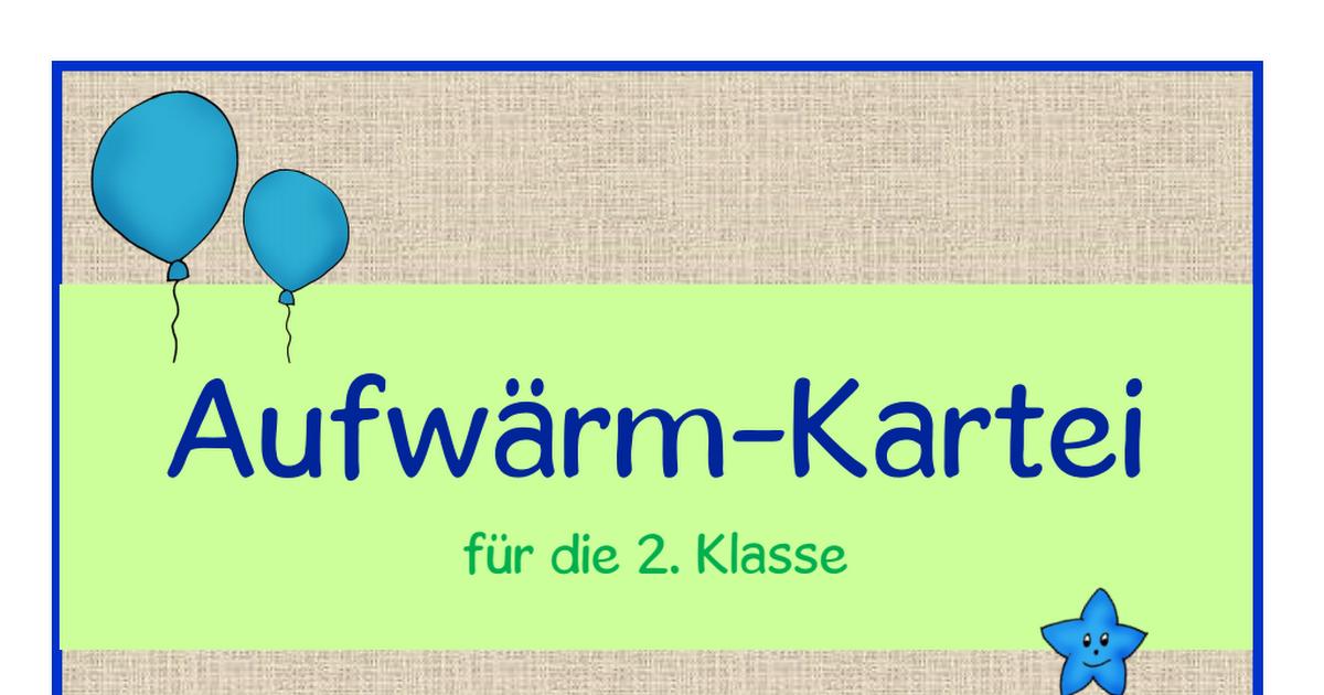 Aufwärm-Kartei für die 2. Klasse.pdf | Unterrichtsmaterial ...